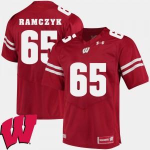 Mens #65 Red Alumni Football Game Ryan Ramczyk University of Wisconsin Jersey 2018 NCAA