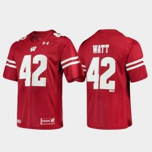 Alumni Football Game Replica Under Armour Mens #42 T.J. Watt Wisconsin Badgers Jersey Red