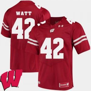 Alumni Football Game T.J. Watt Wisconsin Badgers Jersey Red #42 2018 NCAA Mens