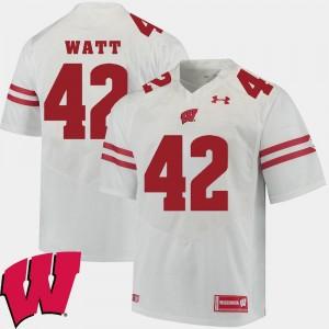 #42 For Men's White Alumni Football Game T.J. Watt Wisconsin Badgers Jersey 2018 NCAA