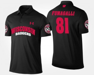 Black #81 Troy Fumagalli Wisconsin Badgers Polo Name and Number Mens