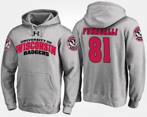 Troy Fumagalli Wisconsin Badgers Hoodie #81 Mens Gray Name and Number