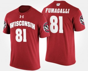 For Men Name and Number Troy Fumagalli UW T-Shirt #81 Red