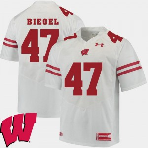 Men White Vince Biegel University of Wisconsin Jersey #47 Alumni Football Game 2018 NCAA