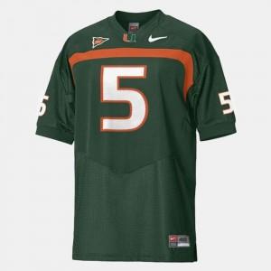 College Football Men's Andre Johnson University of Miami Jersey Green #5
