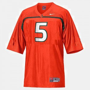 College Football Orange Youth(Kids) Andre Johnson Miami Jersey #5