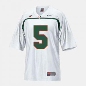 For Men's #5 College Football Andre Johnson Miami Jersey White
