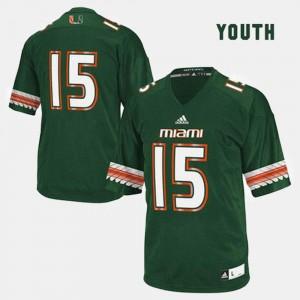 Green Kids College Football #15 Miami Jersey
