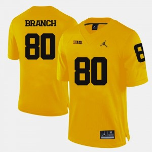 #80 College Football Alan Branch Michigan Jersey Yellow For Men's
