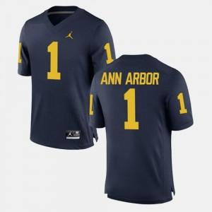 Navy #1 Mens Ann Arbor University of Michigan Jersey Alumni Football Game
