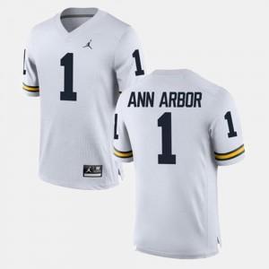 White Ann Arbor Michigan Wolverines Jersey #1 Mens Alumni Football Game