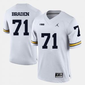 Men #71 Ben Braden Michigan Jersey White College Football
