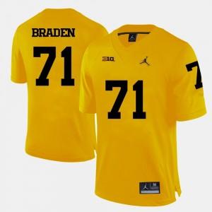 College Football #71 Yellow Ben Braden University of Michigan Jersey For Men's
