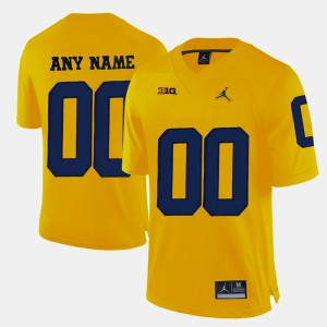 #00 Yellow For Men's College Limited Football Michigan Customized Jerseys