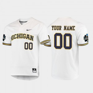 Mens 2019 NCAA Baseball College World Series #00 Wolverines Custom Jersey White