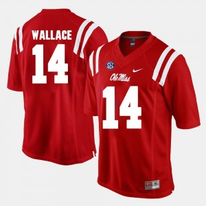 Alumni Football Game Men's Red #14 Mike Wallace University of Mississippi Jersey