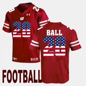 #28 Men Montee Ball Wisconsin Jersey US Flag Fashion Maroon