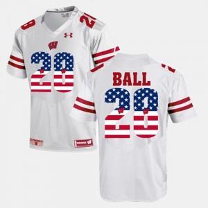 White US Flag Fashion #28 Montee Ball UW Jersey Men