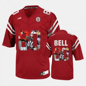 #80 For Men Red Kenny Bell Cornhuskers Jersey Player Pictorial