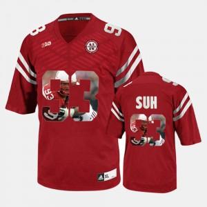Red Ndamukong Suh University of Nebraska Jersey #93 Player Pictorial For Men's