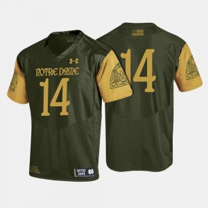 Mens College Football #14 Olive Green Notre Dame Fighting Irish Jersey