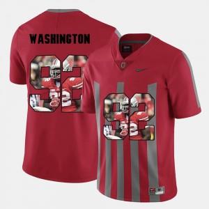 Mens #92 Pictorial Fashion Adolphus Washington Ohio State Jersey Red