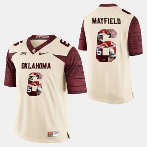 Mens #6 Player Pictorial Baker Mayfield Sooners Jersey White