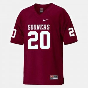 Mens Billy Sims OU Jersey Red #20 College Football