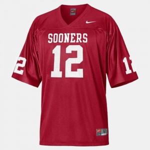 College Football Landry Jones Oklahoma Sooners Jersey #12 Red Youth