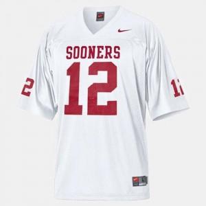 For Men's Landry Jones Oklahoma Sooners Jersey White #12 College Football