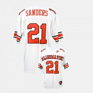 #21 White College Football Barry Sanders OSU Cowboys Jersey For Men's
