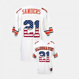 Barry Sanders Cowboys Jersey Throwback White #21 Men's