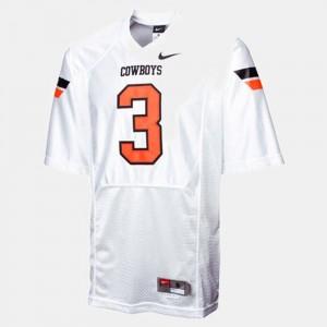 White #3 College Football Brandon Weeden OSU Cowboys Jersey Mens