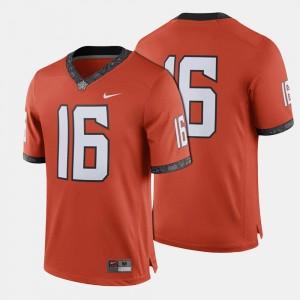 #16 Mens Orange Oklahoma State Jersey College Football