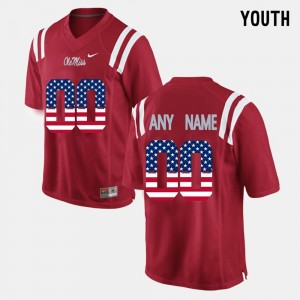 US Flag Fashion Ole Miss Customized Jerseys #00 Red Youth