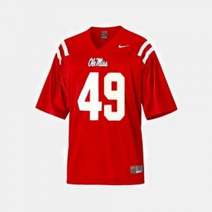Red #49 College Football Patrick Willis Rebels Jersey Youth(Kids)