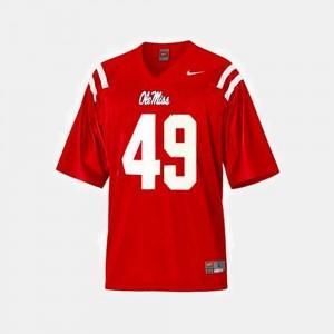 #49 Men Red College Football Patrick Willis University of Mississippi Jersey