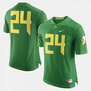 Green #24 College Football University of Oregon Jersey Men's