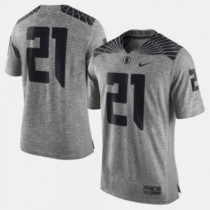 Oregon Jersey Gray For Men #21 Gridiron Gray Limited