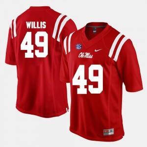 #49 Red Alumni Football Game Men Patrick Willis Ole Miss Rebels Jersey