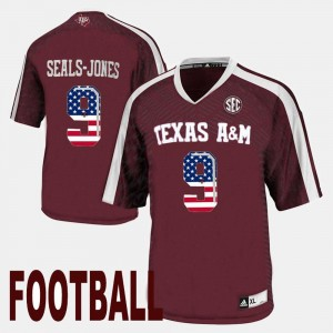 Mens Ricky Seals-Jones Aggies Jersey US Flag Fashion #9 Maroon