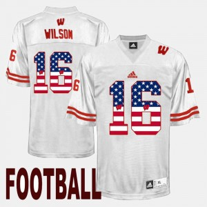 Russell Wilson University of Wisconsin Jersey White Men's #16 US Flag Fashion