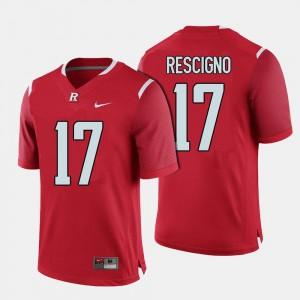 College Football #17 Men Red Giovanni Rescigno Rutgers Jersey