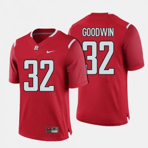 College Football Red Justin Goodwin Rutgers Scarlet Knights Jersey For Men #32