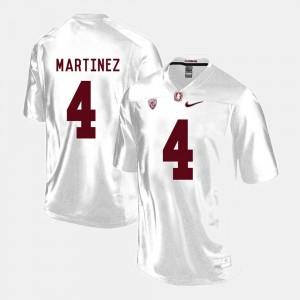 For Men's #4 Blake Martinez Cardinal Jersey White College Football