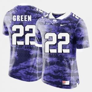 For Men's #22 Aaron Green Texas Christian Jersey Purple College Football