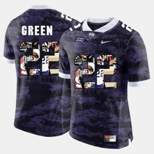 For Men Aaron Green Texas Christian Jersey High-School Pride Pictorial Limited Purple #22