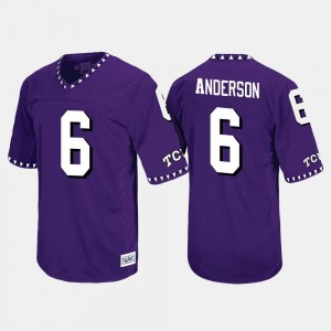 Darius Anderson Horned Frogs Jersey Throwback Purple For Men's #6