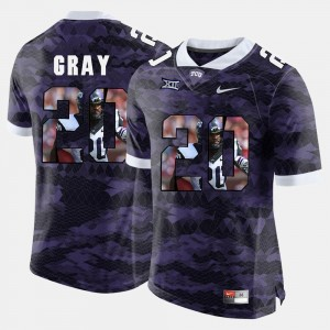 Deante Gray TCU Jersey High-School Pride Pictorial Limited Purple For Men #20