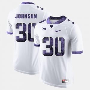College Football White Men #30 Denzel Johnson Horned Frogs Jersey